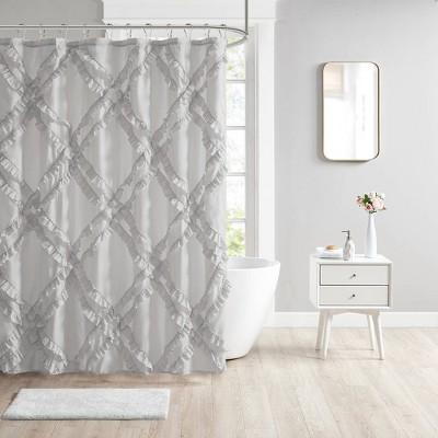 Elia Tufted Diamond Ruffle Shower Curtain Gray