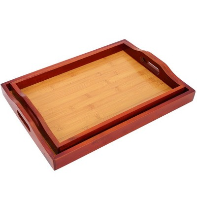Juvale 2 Pack Red Brown Wood Serving Tray with Handle for Bed, Food, Vanity, Ottoman, 16 x 2 x 12 in