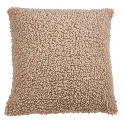 "18"" Faux Fur Pillow Cover Natural - SARO Lifestyle"