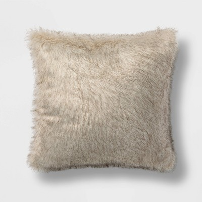 Euro Faux Fur Decorative Throw Pillow Tan/Neutral - Threshold™