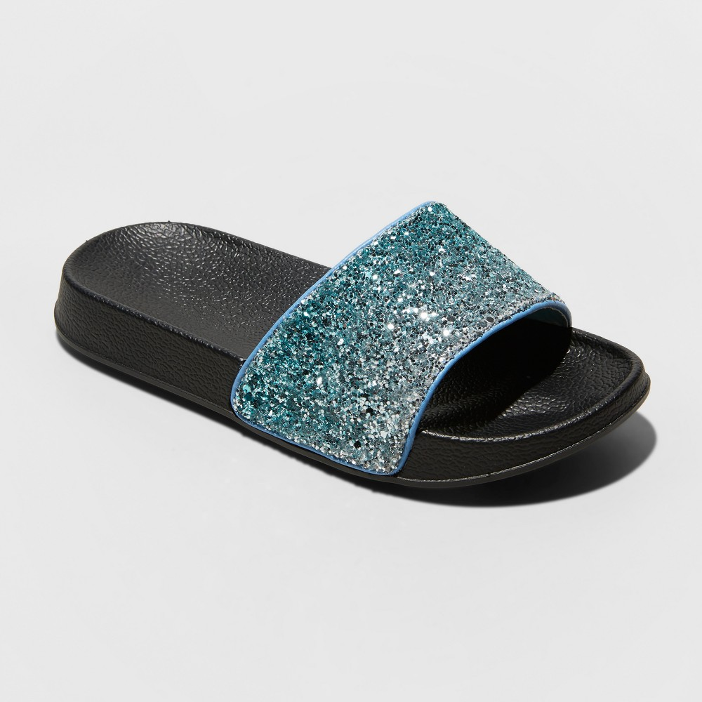 Girls' Galya Glitter Slide Sandals - Cat & Jack Blue 2