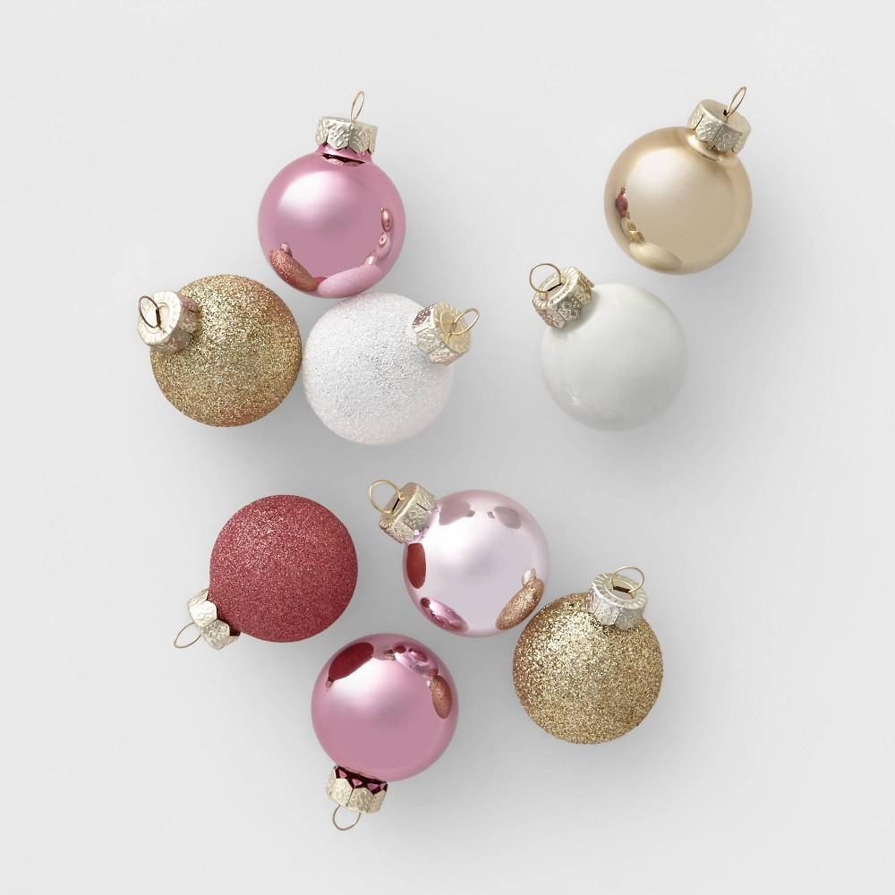 Image of 18ct Mini Glass Round Christmas Ornament Blush White and Gold - Wondershop , White Gold Pink