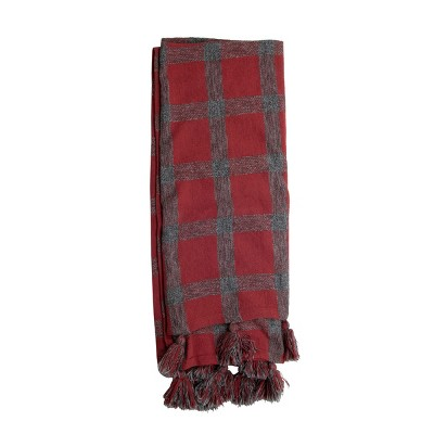 Plaid Pattern Hand Woven 50 x 60 inch Cotton Throw Blanket with Hand Tied Tassels - Foreside Home & Garden