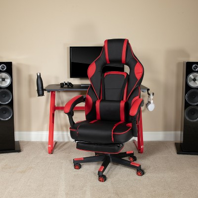 Emma and Oliver Ergonomic Gaming Chair -Recline Back/Arms, Footrest, Massaging Lumbar