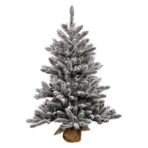 2.5ft Unlit Flocked Anoka Pine Artificial Christmas Tree Slim In Burlap Base : Target