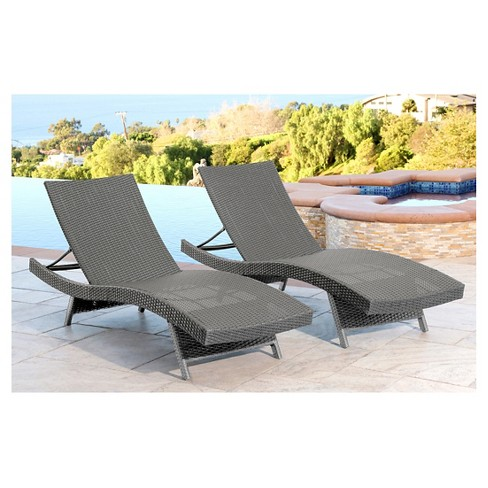 Palermo Outdoor Adjustable Wicker Chaise (Set of 2) - Gray - Abbyson Living  : Target - Palermo Outdoor Adjustable Wicker Chaise (Set Of 2) - Gray - Abbyson