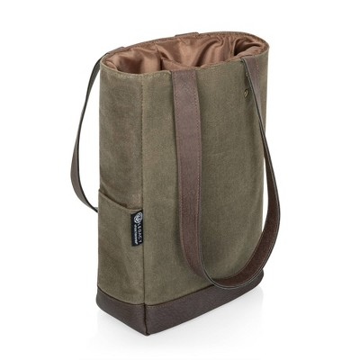 Picnic Time Waxed Canvas Wine Cooler Bag - Khaki