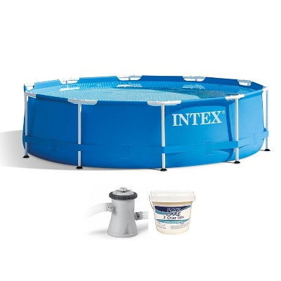 Intex 28201EH 10ft x 30in Metal Frame Round 4 Person Above Ground Swimming Pool with Filter Pump, Type H Cartridge, and 3 Inch Chlorine Tabs, 25 lbs