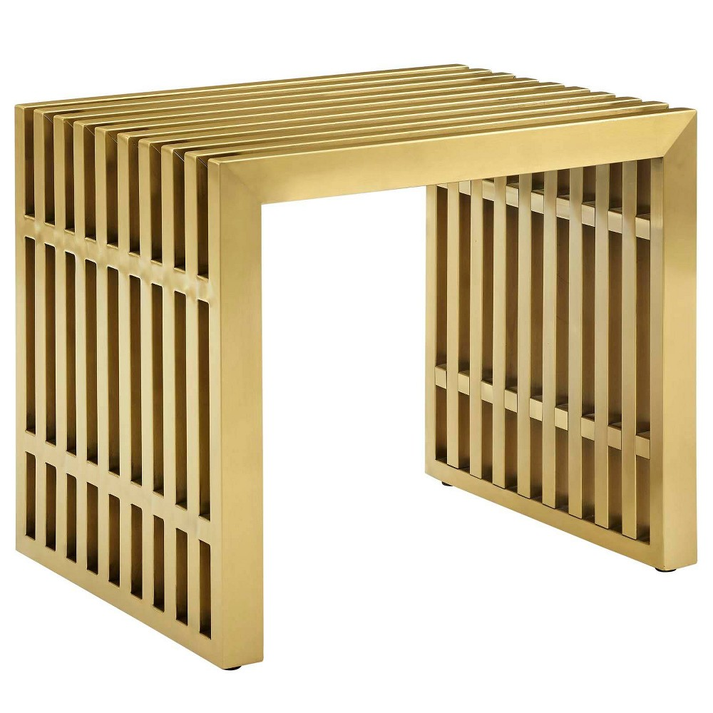 Gridiron Small Stainless Steel Bench Gold - Modway