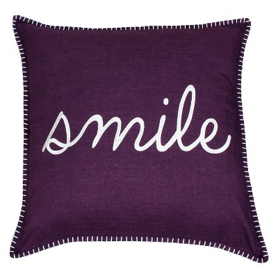 Shiloh 'Smile' Embroidered Oversize Square Throw Pillow Purple - Decor Therapy