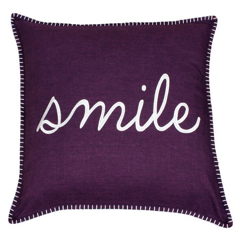 Shiloh 'Smile' Embroidered Throw Pillow - Decor Therapy - image 1 of 4