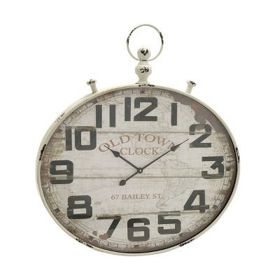 """36"""" x 32"""" Traditional Iron and Glass Large Wall Clock with Finial Detail - Olivia & May"""