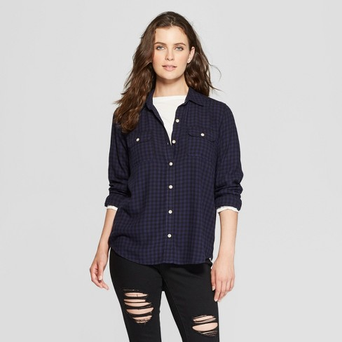 209f99c4 Women's Checkered Long Sleeve Drapey Shirt - Universal Thread™ Blue ...
