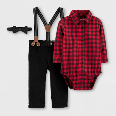 Baby Boys' Holiday Plaid Bowtie Top & Bottom Set - Just One You® made by carter's Red/Black 3M