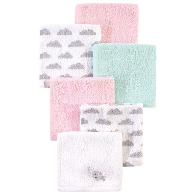 Luvable Friends Baby Girl Super Soft Cotton Washcloths, Elephant Spray, One Size