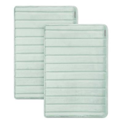 2pc Softlux Extra Thick Charcoal Infused Bath Mat Aqua - Microdry