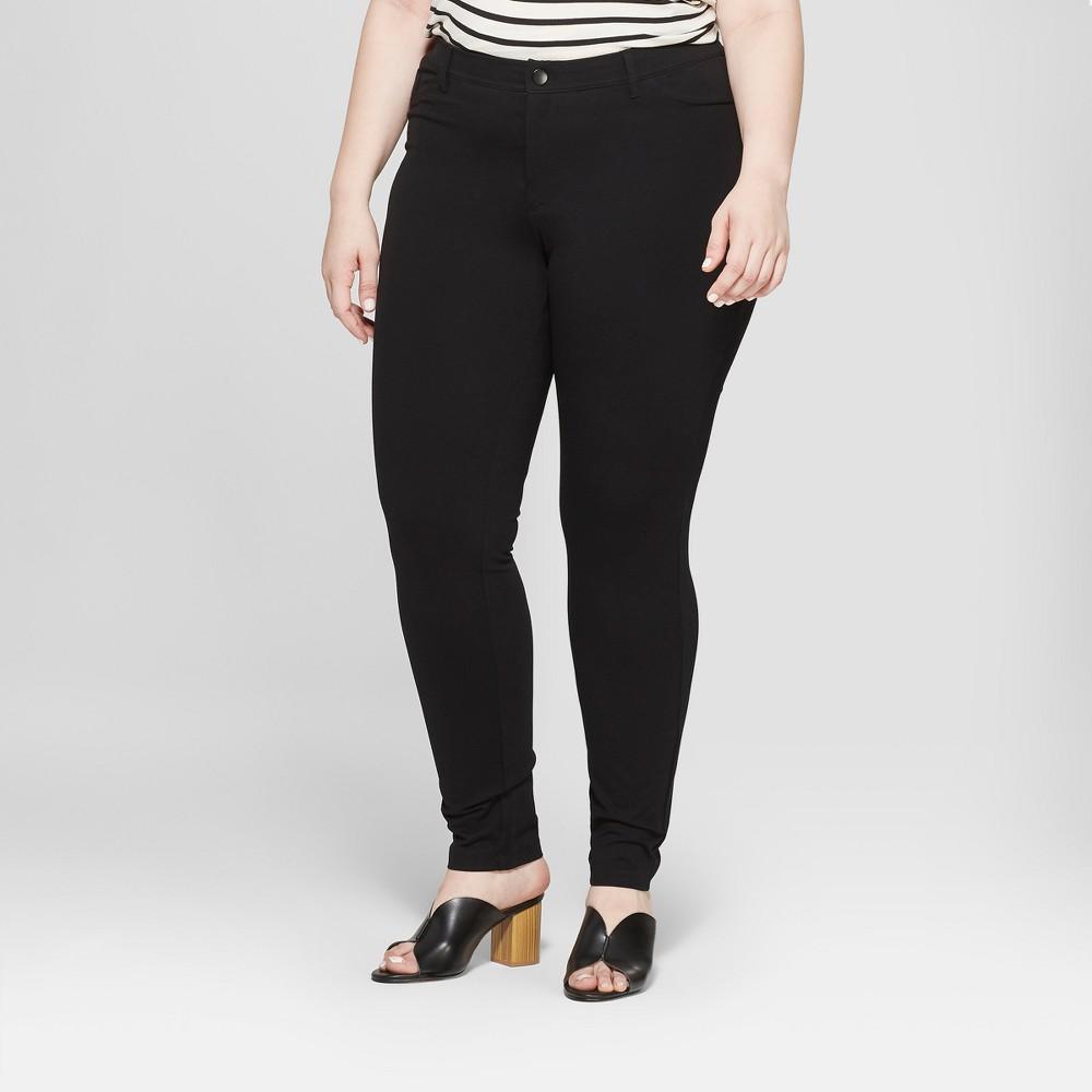 Women's Plus Size Ponte Pants with Comfort Waistband - Ava & Viv Black 18W