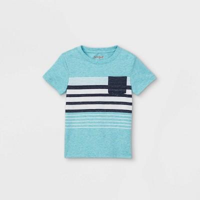 Toddler Boys' Striped Pocket Short Sleeve T-Shirt - Cat & Jack™ Teal