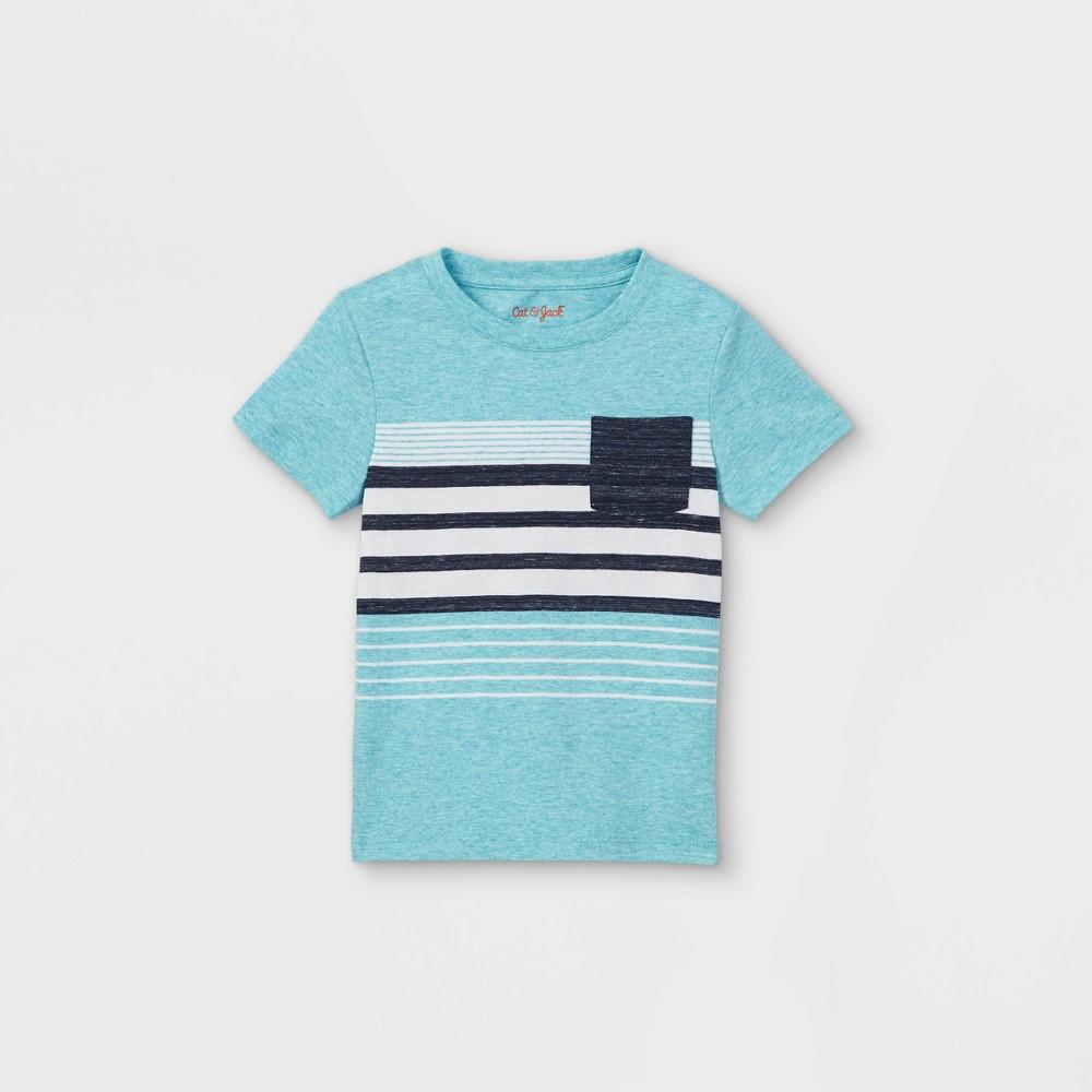 Toddler Boys 39 Striped Pocket Short Sleeve T Shirt Cat 38 Jack 8482 Teal 18m