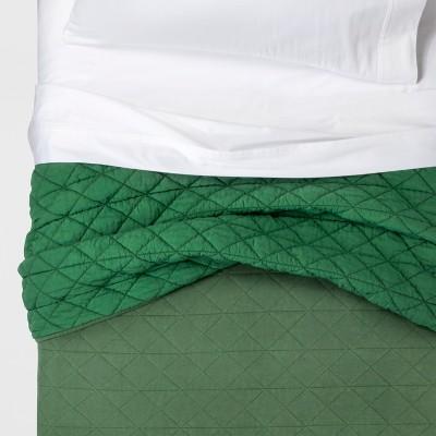 Full/Queen Vintage Wash Jersey Quilt Green - Pillowfort™