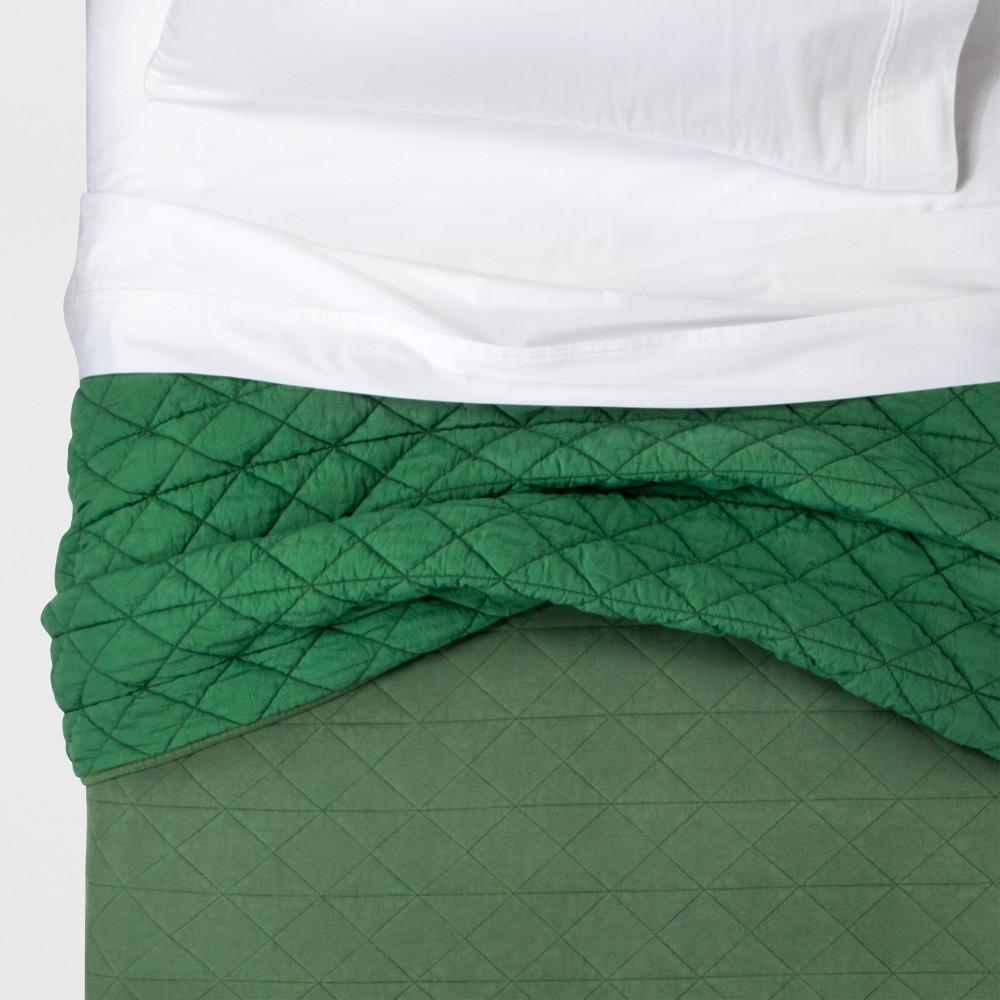 Full/Queen Vintage Wash Jersey Quilt Green - Pillowfort