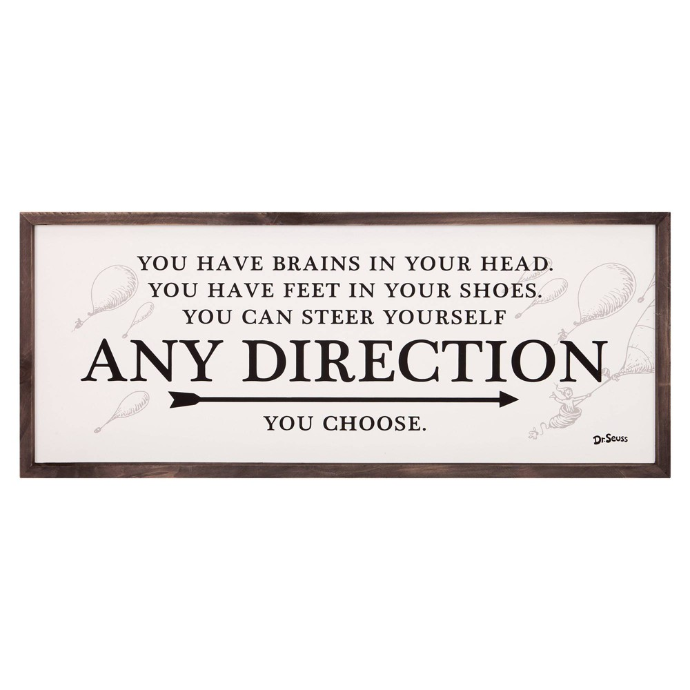 """Image of """"13""""""""x31"""""""" Dr. Seuss Any Direction You Choose Framed Wood Wall Decor"""""""