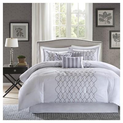 Lydia 7 Piece Comforter Set- Silver (King)