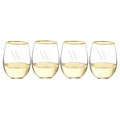 Cathy's Concepts 19.25oz Monogram Gold Rim Stemless Wine Glasses W - Set of 4