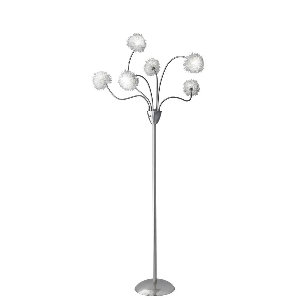 Image of Adesso Pom Pom Floor Lamp Includes Light Bulb - Silver