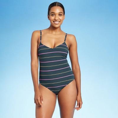 Women's High Tide Textured Stripe Modern One Piece Swimsuit - Kona Sol™ Teal