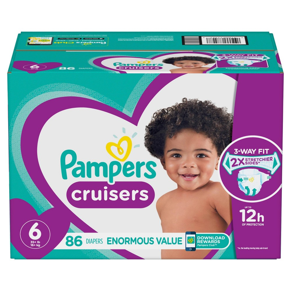 Pampers Cruisers Disposable Diapers Enormous Pack - Size 6 (86ct)
