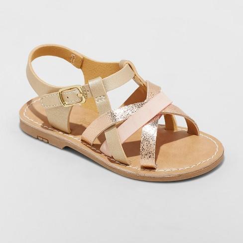 Toddler Girls' Elsa Strappy Sandals - Cat & Jack™ Gold - image 1 of 3