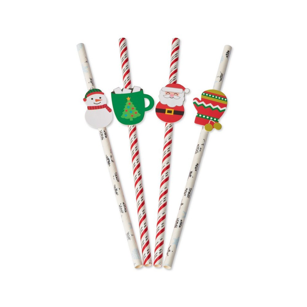 Papyrus Holiday Icon Straws, Multi-Colored