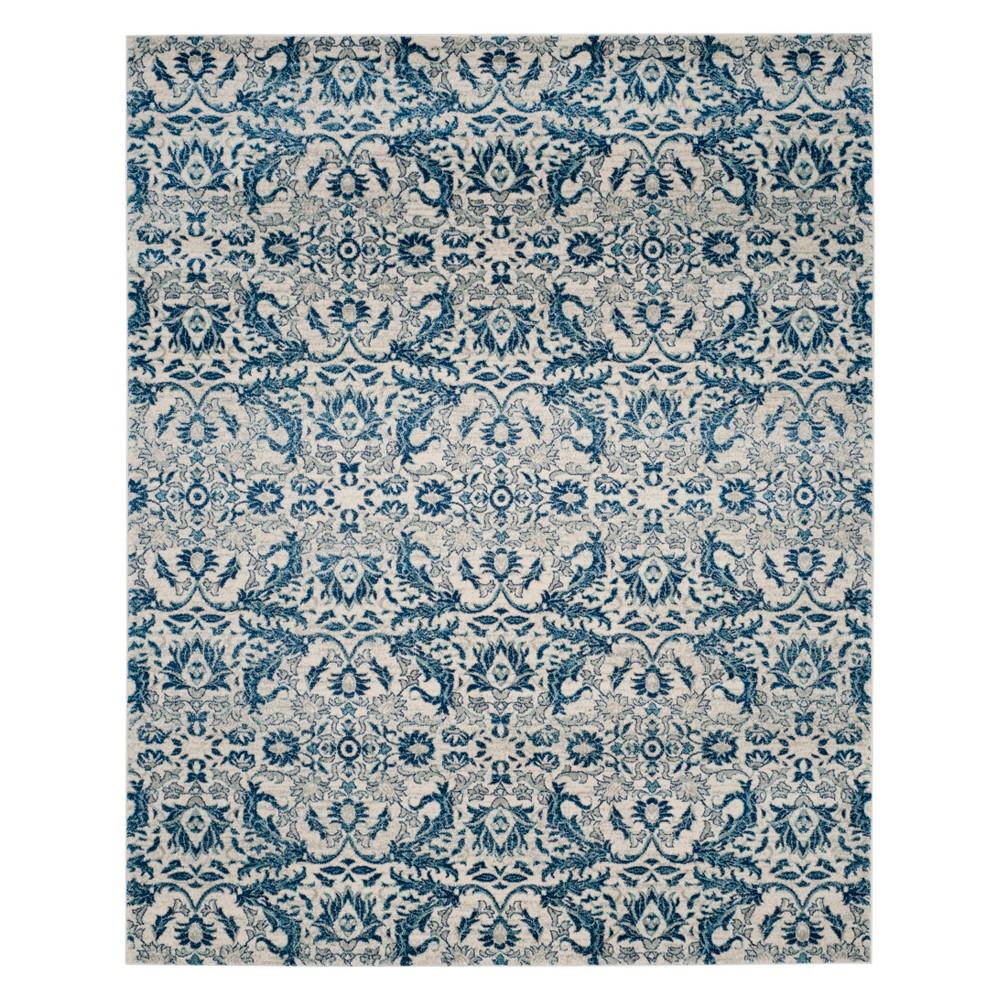 Floral Area Rug Ivory/Blue