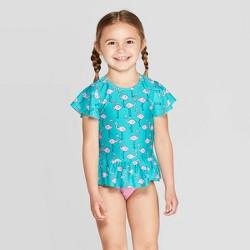 Toddler Girls' Short Sleeve Flamingo Rash Guard Set - Cat & Jack™ Aqua