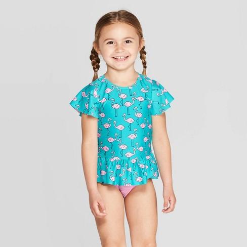 6afe577f8f3f3 Toddler Girls' Short Sleeve Flamingo Rash Guard Set - Cat & Jack™ Aqua :  Target