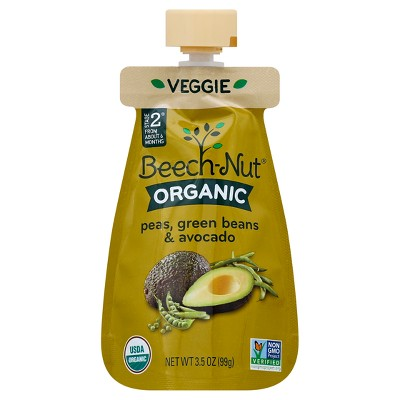 Beech-Nut Organic Puree Pouch - Peas, Green Bean & Avocado - 3.5oz