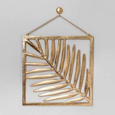 Cast Metal Gold Palm Leaf with Frame and Chain (11.6  x 12 )- Project 62™