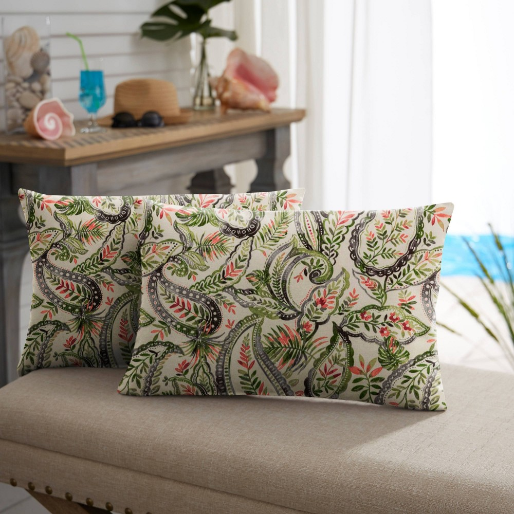 "Image of ""13"""" 2pk Paisley Outdoor Throw Pillows Green/Blue"""