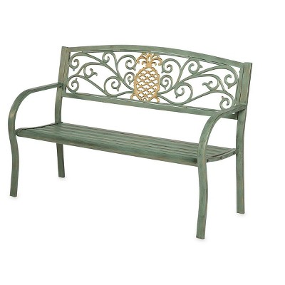 Pineapple Metal Garden Bench, in Verdigris