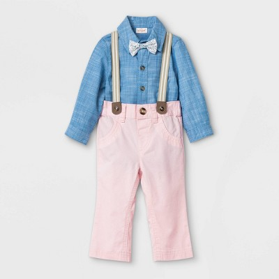 Baby Boys' Chambray Suspender Top & Bottom Set with Bowtie - Cat & Jack™ Pink 0-3M