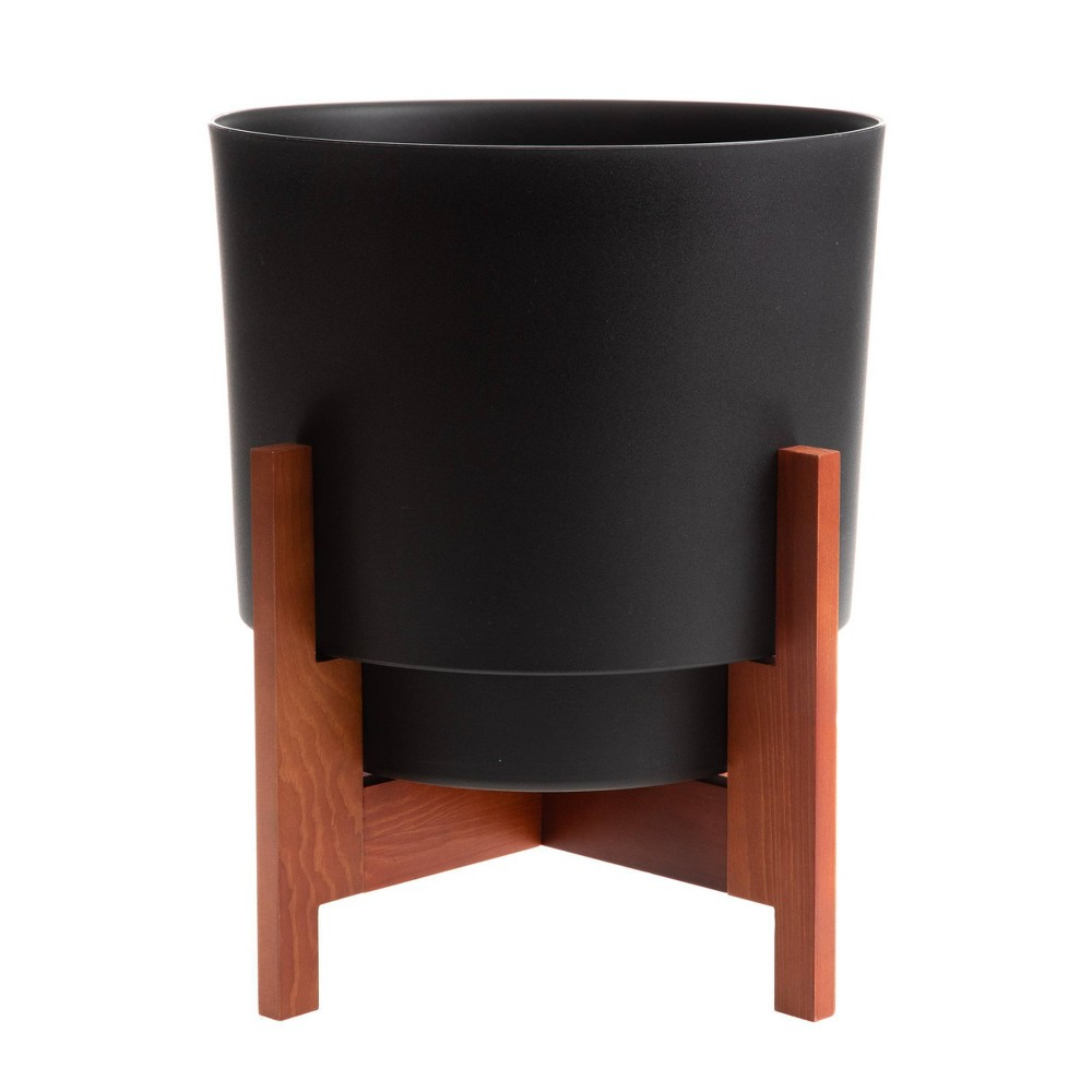 Hopson Planter With 10 34 Wood Stand Black Bloem