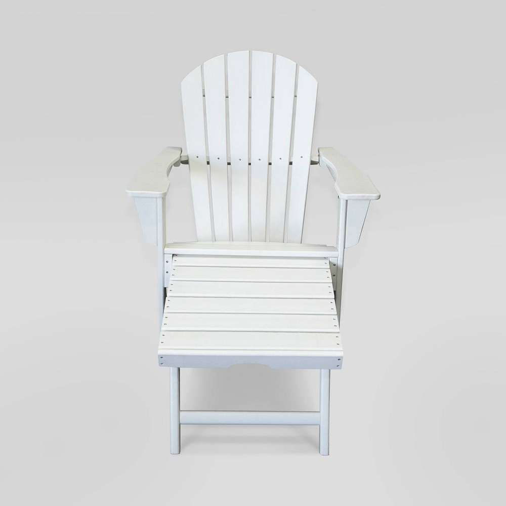 Image of Hampton Outdoor Patio Adirondack Chair with Hideaway Ottoman - White - LuXeo