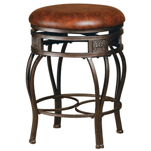 26 Montello Backless Swivel Counter Stool Bronze Brown Hilale Furniture