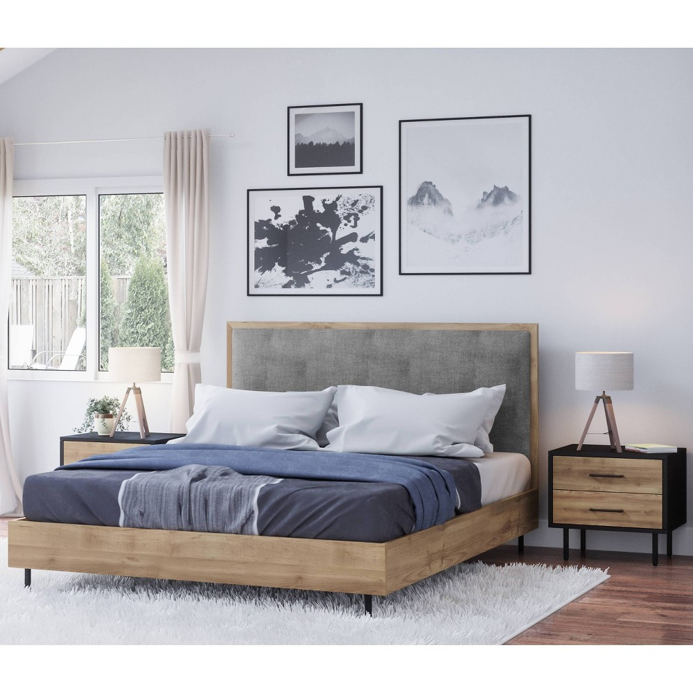 Image of 3pc Tyler Mid Century Wood Bedroom Set Queen Natural - Abbyson Living