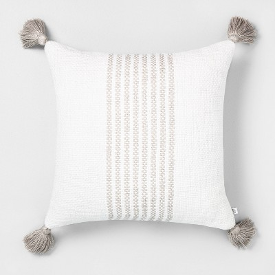 18x18 Center Stripes Throw Pillow Taupe - Hearth & Hand™ with Magnolia