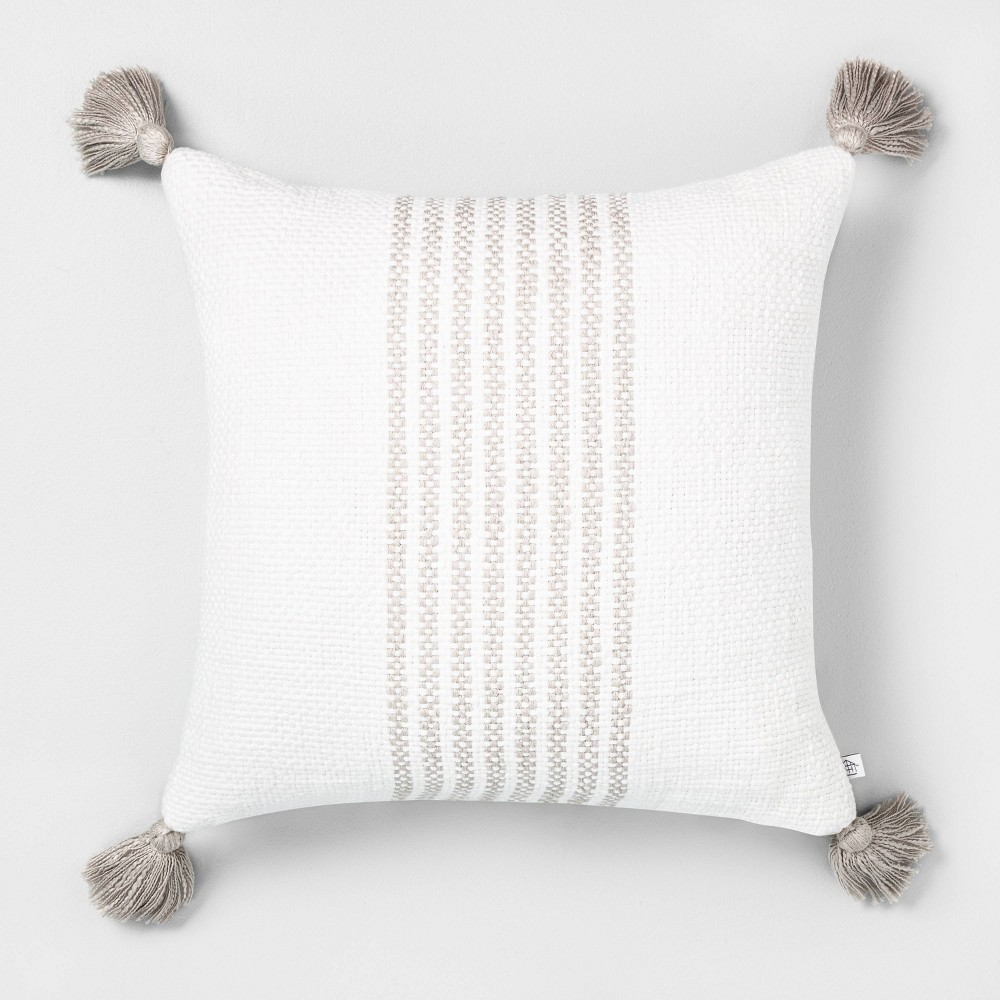 """Image of """"18"""""""" x 18"""""""" Center Stripes Throw Pillow Taupe - Hearth & Hand with Magnolia"""""""