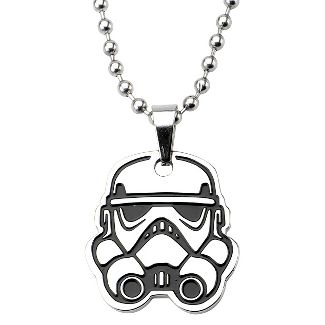 "Men's Star Wars Stormtrooper Cut Out Stainless Steel Pendant (18"")"