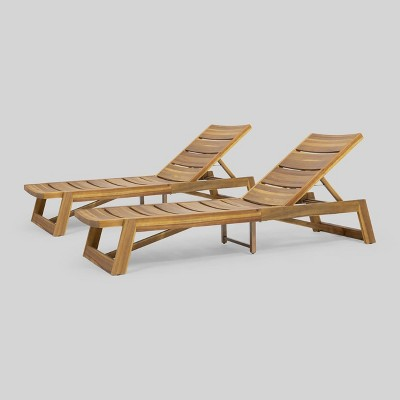 2pk Maki Wood Patio Chaise Lounge - Christopher Knight Home