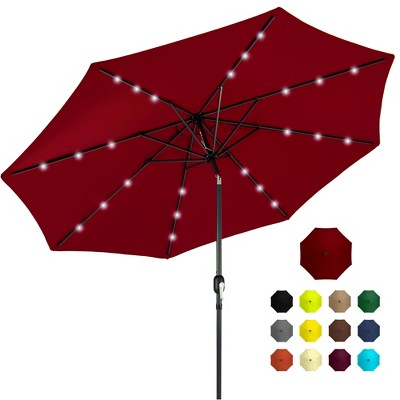 Best Choice Products 10ft Solar LED Lighted Patio Umbrella w/ Tilt Adjustment	Fade-Resistant Fabric